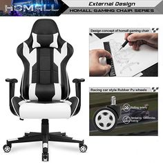 Homall Gaming Chair Office Chair High Back Computer Chair PU Leather Desk Chair PC Racing Executive Ergonomic Adjustable Swivel Task Chair with Headrest and Lumbar Support (White) Leather Recliner Chair, Swivel Chair, Leather Chairs, Chair Cushions, Computer Desk Chair, Gaming Chair, Eames, Dining Chair Makeover, High Back Office Chair