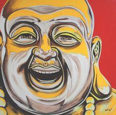 """happy buddha 36x36"""" oil on canvas by dragoslav milic"""