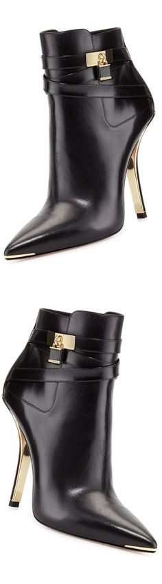 Michael Kors ~ 'Averie' Pointed -Toe Black Leather Bootie w Gold Details 2013