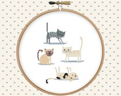 Cat cross stitch pattern pdf  instant download  by GentleFeather