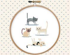 Cat cross stitch pattern pdf  instant download  por GentleFeather