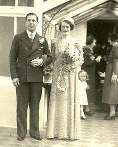 1938 wedding - wedgewood blue lace dress