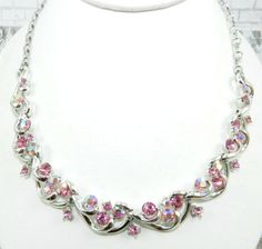 Coro Pink Rhinestone Necklace Silver Tone Art Deco by OurBoudoir