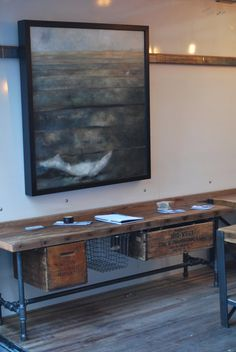 Industrial Reclaimed wood media/tv stand 150 by UrbanWoodGoods love the painting too
