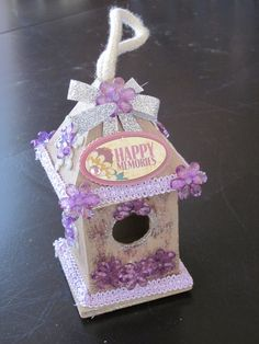 Altered Birdhouse Ornament PURPLE by ItseeBitsee on Etsy, $15.00