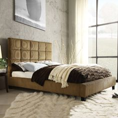 Curtis Queen Bed, Taupe Corduroy