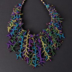 Peacock Seed Bead and Crystal Fringe Necklace - Etsy