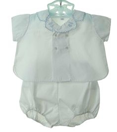 NEW Hand Embroidered Diaper Set with Blue Trim $50.00