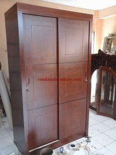 Lemari Baju Minimalis Sliding 2 Pintu Lockers, Armoire, Locker Storage, Cabinet, Furniture, Home Decor, Clothes Stand, Clothes Stand, Homemade Home Decor