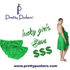 St. Patrick's Day sale at www.prettypushers.com 30% off Clover Green labor gowns and postpartum underwear