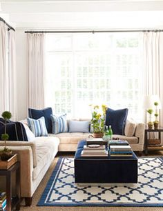 love the blue and white rug