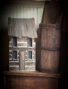 Primitive Early Style Log Cabin