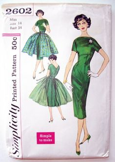 Simplicity #2602 1950's Vintage Boat Neck Wiggle or Fit and Flare Party / Day Dress Sewing Pattern Size 14 Bust 34