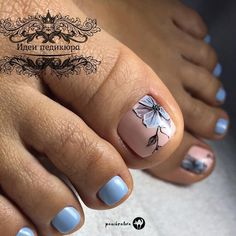 Blue Flower Nail Art Design ❤ 48 Toe Nail Designs To Keep Up With Trends ❤ S… - ly. Pedicure Nail Art, Pedicure Designs, Toe Nail Designs, Pretty Toe Nails, Cute Toe Nails, Beautiful Nail Designs, Nagel Gel, Flower Nails, Blue Nails