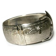 Silver Buckle Cuff Bangle Engraved Etched Ornate Vintage Belt Floral Wide Victorian Style