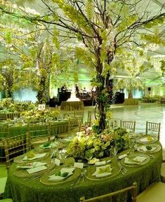 Princess and the Frog Party place settings, table setting,wedding decor,reception ideas,flowers,wedding centerpieces - Mood Board Green with Envy by Preston Bailey by estelle