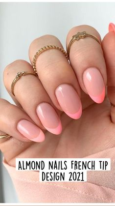 Rounded Acrylic Nails, French Acrylic Nails, Pink Acrylic Nails, French Tip Nails, Gold Nails, Almond Nails French, Almond Shape Nails, Colored Nail Tips, Sns Nails Colors