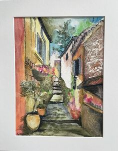Village in Provence by Bethany Ramey Trombley Watercolor ~  x