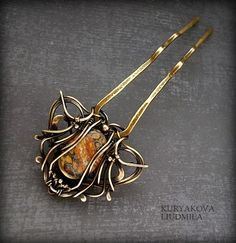 PIN Q hairpin, brass, jade, patina, forging.  by KL-WireDream on DeviantArt