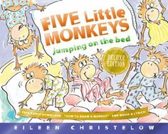 """""""A counting book in which one by one the little monkeys jump on the bed only to fall off and bump their heads."""""""