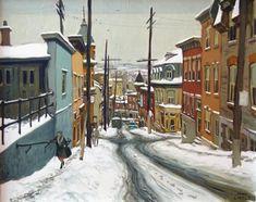 John Little - )Rue Ste Genevieve, Quebec, 1968 Canadian Painters, Canadian Art, Ste Genevieve, Objet D'art, Sculpture, Montreal, Street View, France, Winter