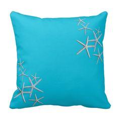 Big Square Starfish Aqua Blue Throw Pillow