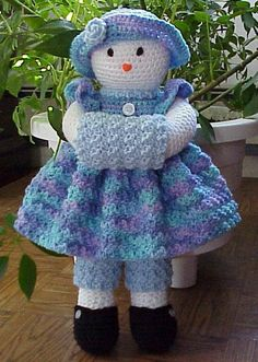 Snowman Doll CROCHET PATTERN Waiting for Frosty by CuteCrochetShop, $3.99