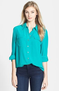 Two by Vince Camuto Silk Utility Blouse | Nordstrom