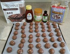 VEGAN and GLUTEN FREE Complete Chocolate/PB Balls 1 c. GF Oatmeal. 1/2 c. Organic Peanut Butte.r 1/2 c. raw, unfiltered local honey. 1/2 c. Unsweetened Coconut flakes. 1/2 c. Juice Plus Dutch Chocolate Complete plant protein powder. 1 tsp. Organic Vanilla. 1-3 Tbsp. filtered water. Mix all ingredients in bowl adding water as needed. Roll into balls (I used a Tablepsoon/ball). Lay on parchment lined cookie sheet and put in freezer. Eat frozen or room temperature. 70 cal & 3 Gm protein/tre...