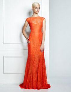 Pamella, Pamella Roland Formal Orange Cap Sleeve Lace Gown