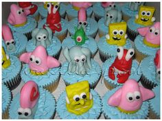 3D Sponge Bob and friends on cupcakes.