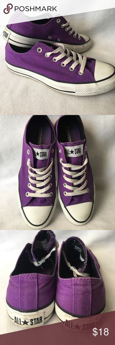 Purple Converse All Stars. Purple low top Converse All Star Chucks. Used but in good condition if cleaned. Size 9. Canvas. Feel free to ask questions or bundle to save! Converse Shoes Sneakers