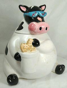 "90's Vintage TREASURE CRAFT WHIMSICAL COW W/ SUNGLASSES Ceramic COOKIE JAR 10"""
