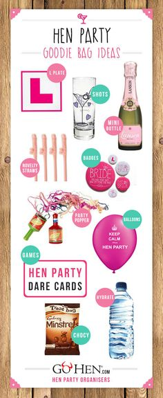 Dare to be different with some totally original hen party bag ideas. You don't have to spend big to create something to keep the girls laughing. Hen Do Party Bags, Hen Party Favours, Hen Party Gifts, Party Gift Bags, Hen Doo Ideas, Hen Night Ideas, Hen Night Games, Hen Games, Hens Night