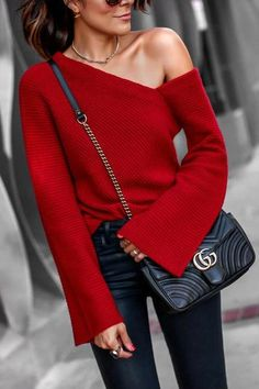 1b825ff3f7a Onlinechoic Sexy One-shoulder Knit Sweater Pullover Sweaters