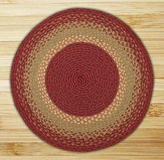Round Circle Burgundy Maroon and Sunflower Jute Braided Earth Rug®