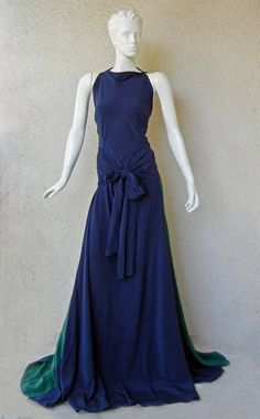 Vionnet Draped Colorblock Emerald Green & Navy Silk Gown with Train | From a collection of rare vintage evening dresses at https://www.1stdibs.com/fashion/clothing/evening-dresses/