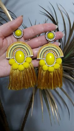 Yellow tassel and soutache earrings Tassel Earrings Outfit, Clip On Tassel Earrings, Soutache Earrings, Tassel Jewelry, Fabric Jewelry, Beaded Earrings, Beaded Jewelry, Handmade Jewelry, Shibori