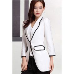 Blazers For Women Tailored Collar Long Sleeves Slim (130 BRL) ❤ liked on Polyvore featuring outerwear, jackets, blazers, white, white blazer, tailored jacket, slim blazer, white slim fit blazer and blazer jacket