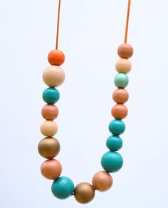 Handpainted wood necklace,Teal turquoise and orange long necklace, chunky wooden beads, abstract necklace pastel OOAK necklace