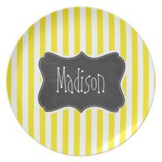 Vintage Chalkboard Aureolin Yellow Stripes Party Plate