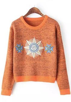 Orange and Blue Compass Design Print Embroidery Jumper
