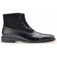 Belvedere Filipo Black Ostrich & Calfskin Cap Toe Ankle Boots