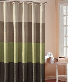 Powerful bathroom ballads deserve an equally bold backdrop. This striped shower curtain features an elegant color block design that assimilates into most décor schemes, while the durable construction keeps moisture off the floor during those acrobatic air guitar solos. 70'' W x 72'' H100% polyesterMachine wash