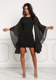 Black Voluminous Bell Sleeve Low Back Bodycon Dress - Dresses - Bodycon Dresses Low Back Dresses, Tight Dresses, Short Dresses, Dresses With Sleeves, Dress Backs, Dress Up, Bodycon Dress, Boho Dress, Dress Long