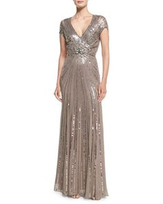 Sunburst Sequined Chiffon Gown by Jenny Packham at Neiman Marcus.