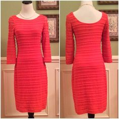 """Kay Unger Lace Dress Stunning!!!  Beautiful Coral color. Fully lined except the 3/4"""" sleeves. Rounded neckline and a little lower in the back. Snaps on shoulder to keep bra straps in place. You will love this dress. Measures 37"""" from shoulder to hem, bust 17.5"""", waist 14.5"""", hips 17.5"""". Lots of stretch. This is a fitted dress. Excellent Condition!!! Kay Unger Dresses"""