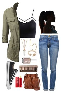 """""""Black Cami Pt. 2"""" by girluntold ❤ liked on Polyvore featuring Bony Levy, Current/Elliott, EF Collection, Converse, Essie, Urban Decay, Fresh and FOSSIL"""