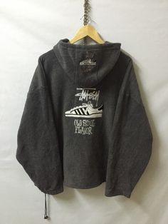 Vintage Stussy Fleece Hoodie Zipper Jacket Made in USA Big Back Logo Sweatshirt…