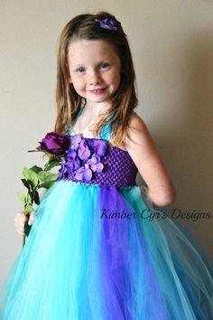 Teal Purple Turquoise Flower girl or Party Tutu by kimbercyr, $34.99 not a fan of the flowers on top but these colors are pretty close to the purple and teal